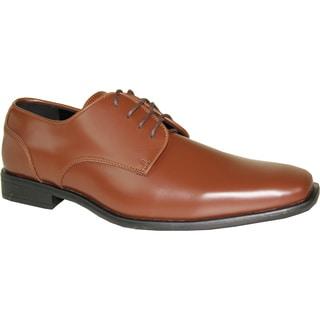 VANGELO Men Dress Shoe TUX-2 Oxford Formal Tuxedo for Prom & Wedding Shoe Cognac Matte - Wide Width Available
