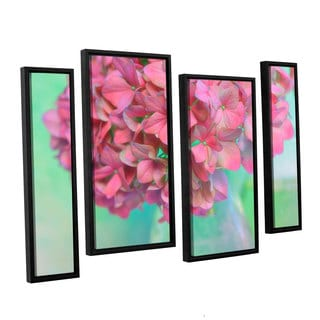 ArtWall Cora Niele's French Hydrangea Glass 4-piece Floater Framed Canvas Staggered Set