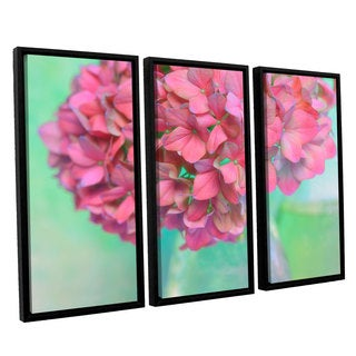 ArtWall Cora Niele's French Hydrangea Glass 3-piece Floater Framed Canvas Set