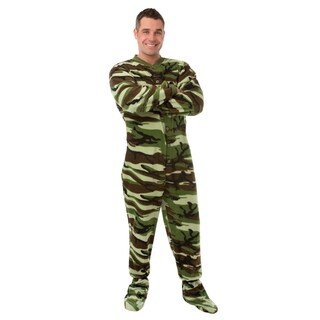 Adult Unisex Green Camouflage Fleece Footed Pajamas with Drop Seat