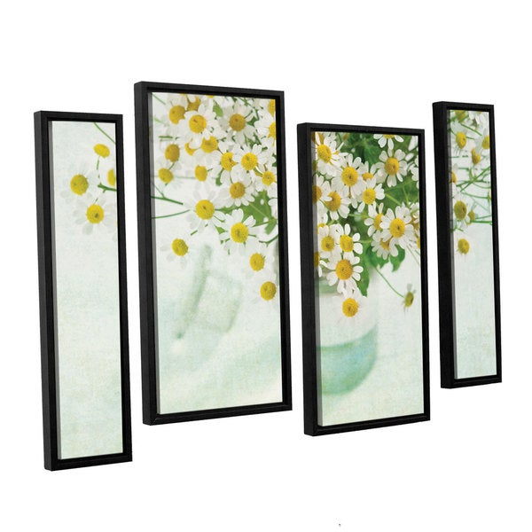 ArtWall Cora Niele's Chamomile 4-piece Floater Framed Canvas Staggered Set