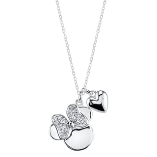Disney Silverplated Brass and Crystal Minnie Mouse with Heart Necklace