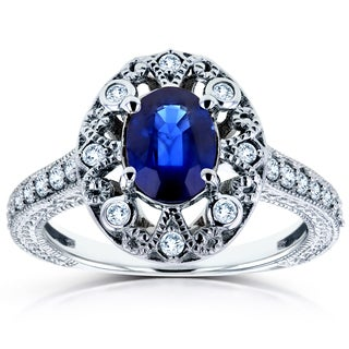 Annello by Kobelli 14k White Gold Oval Blue Sapphire and 1/4ct TDW Diamond Ring (H-I, I2)