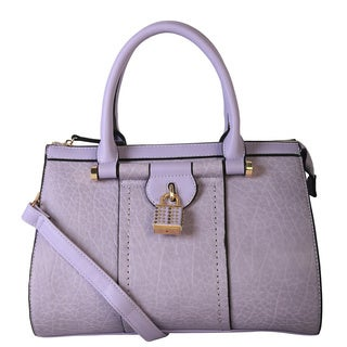 Diophy Faux Leather Studded Lock Decor Duffel Satchel Handbag