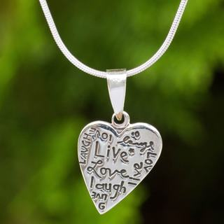 Handmade Sterling Silver 'Live Love Laugh' Necklace (Thailand)