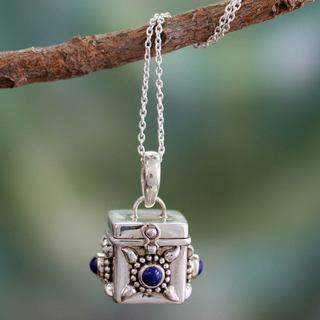 Sterling Silver 'Royal Prayer' Lapis Lazuli Necklace (India)