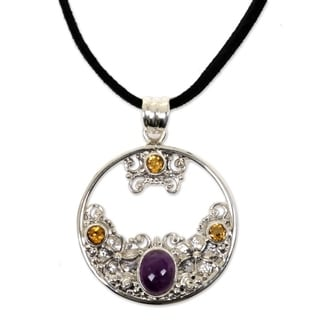 Silver 'Frangipani Moon' Citrine Amethyst Necklace (Indonesia)