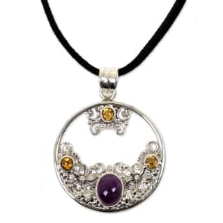 Handmade Silver 'Frangipani Moon' Citrine Amethyst Necklace (Indonesia)|https://ak1.ostkcdn.com/images/products/11426753/P18388841.jpg?impolicy=medium