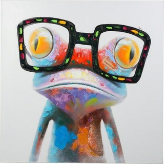 Fun Frog with Glasses Colorful Canvas Artwork