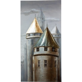 Y-Decor 'Muted Copper and Grey Town of Turrets' Majestic Towers with Copper and Grey Colors Handpainted 3D Effect Canvas Artwork