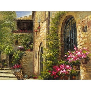 The Villa with Wonderful Earth tones with Purple Flowers and Lush Green Foliage Canvas Artwork