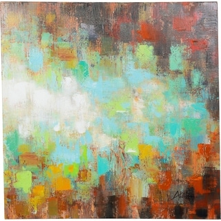 Y-Decor 39 x 39-inch 'Blissful Feelings' with Combinations of Warm and Cool Colors Original Abstract Canvas Artwork