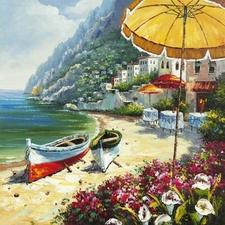 Mediterranean Shoreline Sand and Sunshine Vibrant Colors Canvas Artwork