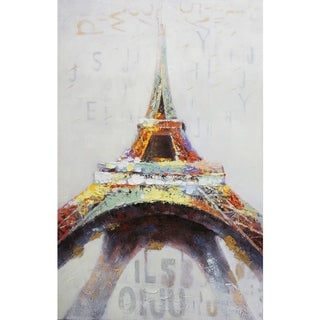 Eiffel Tower In Color Abstract Canvas Artwork