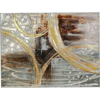 Never Ending Imagination Strokes of Brown, Gold, Grey and Silver Abstract Artwork on a Metal Sheet