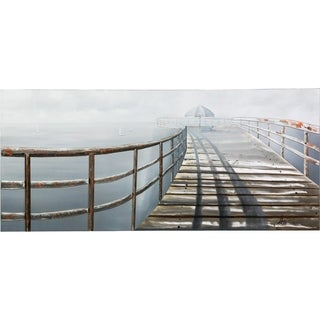 Y-Decor 32 in. x 71 in. 'Serenity on the Pier Stretching Out to the Ocean on a Cloudy Day' Original Artwork on a Metal Sheet