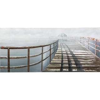 Serenity on the Pier Stretching Out to the Ocean on a Cloudy Day Soothing Landscape Pier Over the Ocean On a Metal Sheet