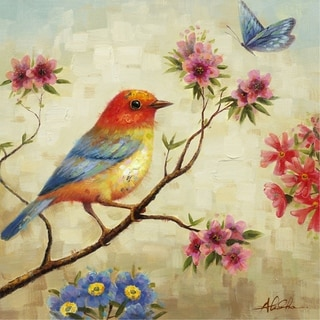 Observing Painting of a Bird Sitting On a Branch with Soft Colors Canvas Artwork