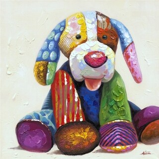 Just Waiting to Play Patchwork Colorful Puppy Abstract Canvas Artwork