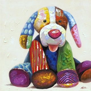 Just Waiting to Play Patchwork Puppy Colorful Abstract Canvas Artwork
