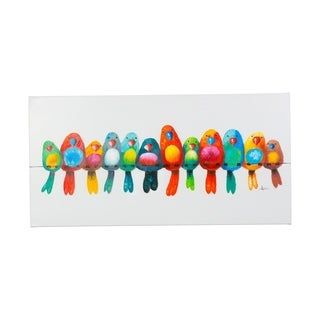 Huddled Together Colorful Birds Canvas Artwork