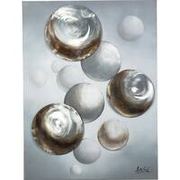 Y-Decor 47.25 x 35.5-inch 'Floating Shimmering Circles' 3D Effects Original Canvas Artwork
