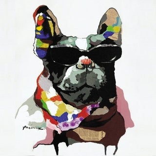 Cool Dog with Glasses Fashionable Dog Colorful Painting Canvas Artwork