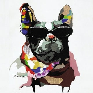 Colorful Abstract Cool Dog Wearing Glasses Canvas Painting Artwork
