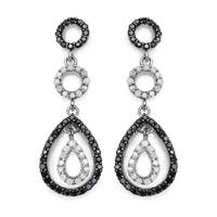 Olivia Leone Sterling Silver 7/8ct TDW White and Black Diamond Earrings
