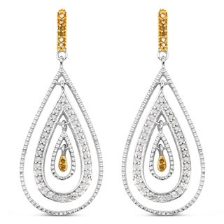 Olivia Leone Sterling Silver 1/2ct TDW White and Yellow Diamond Earrings