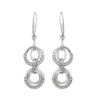 Olivia Leone Sterling Silver 1/2ct TDW White Diamond Earrings (I-J, I2-I3)
