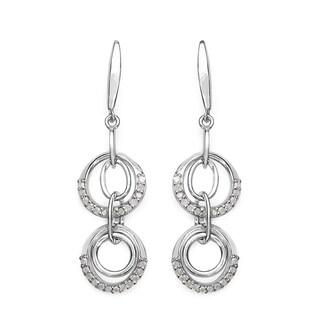 Olivia Leone Sterling Silver 1/2ct TDW White Diamond Earrings