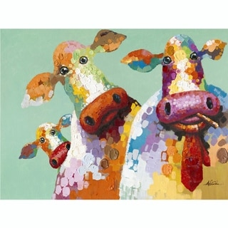 Curious Cows Colorful Hand-painted Canvas Artwork