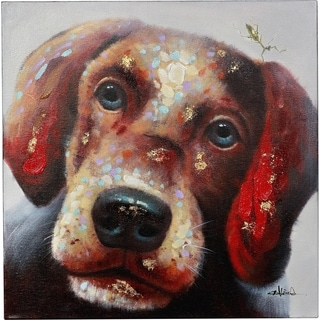 So Cute Puppy Dog with Warm Neutral Colors Canvas Artwork