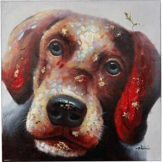 Y-Decor 'So Cute Puppy Dog' with Warm Neutral Colors Original Canvas Artwork