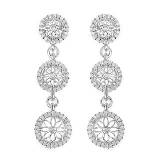 Olivia Leone Sterling Silver 7/8ct TDW Diamond Earrings
