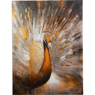Bronze Peacock in Copper, Gold, Silver, White and Black Canvas Artwork