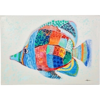 Y-Decor 28 in. H x 40 in. W 'Colorful Fun Fish' Original Painting on Canvas