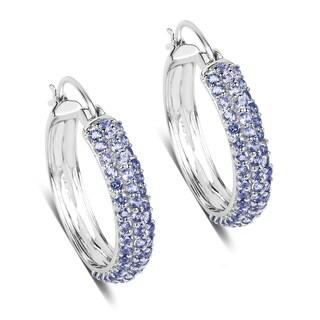 Malaika Sterling Silver 3 5/8ct TGW Tanzanite Earrings