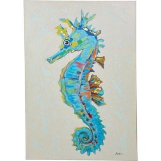 Colorful Nautical Turquoise Seahorse Canvas Artwork