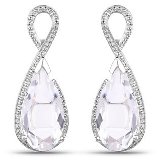 Malaika Sterling Silver 1 1/2ct TGW Crystal Quartz and Diamond Accent Earrings