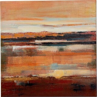 Y-Decor 24 x 24-inch 'Majestic Sunset Over the Water' Original Abstract Hand-painted Canvas Artwork - Multi-color