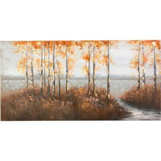 Trees Along the River with Lush Foliage Scenic Landscape Canvas Artwork