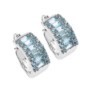 Olivia Leone Sterling Silver 6 1/2ct TGW Blue Topaz Earrings
