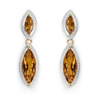 Malaika 14k Yellow Gold over Silver 8 1/2ct TGW Champagne Quartz Earrings