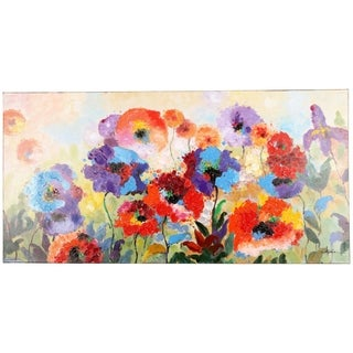 Flower Garden Colors of Spring Painting of Colorful Flowers Textured Canvas Artwork