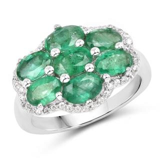 Malaika Sterling Silver 3 2/5ct TGW Zambian Emerald and White Zircon Ring