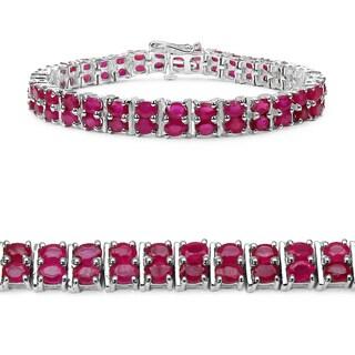 Malaika Sterling Silver 15 7/8ct TGW Ruby Bracelet