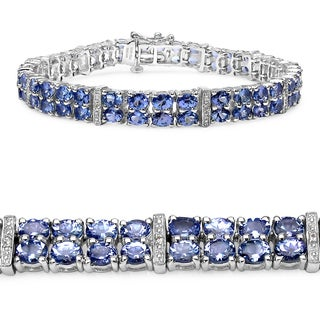 Malaika Sterling Silver 13ct TGW Tanzanite and White Topaz Bracelet