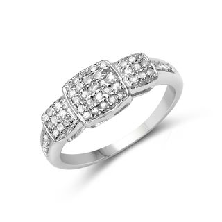 Malaika 14K White Gold Plated 0.21 Carat Genuine White Diamond .925 Sterling Silver Ring